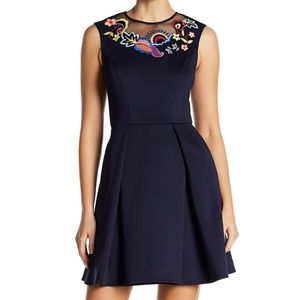 Ted Baker navy embroidered dress